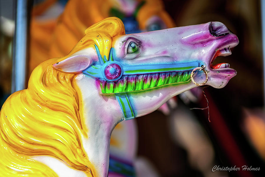 Yellow Mane Carousel Horse by Christopher Holmes
