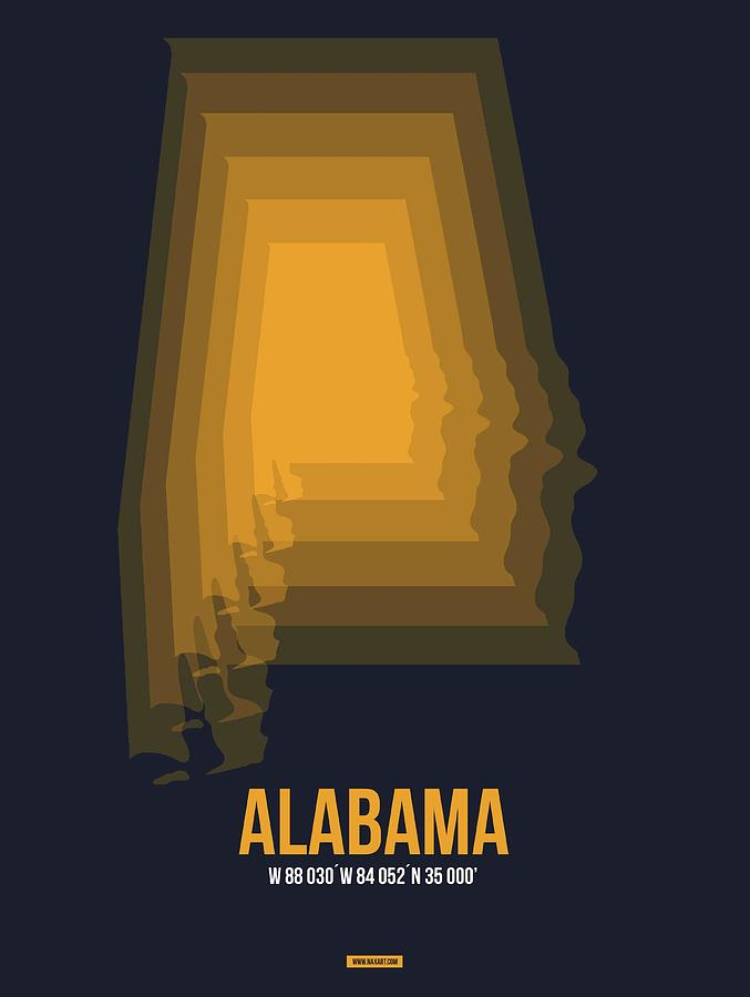 Alabama Digital Art - Yellow Map of Alabama by Naxart Studio