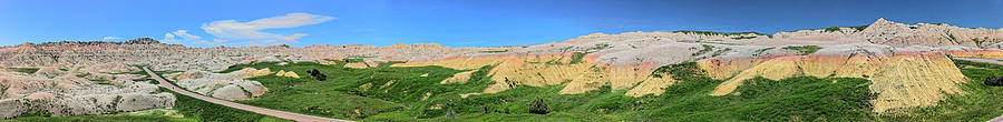 Yellow Mounds, Badlands National Park, Panorama 2 by Doolittle Photography and Art