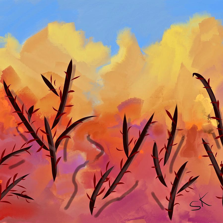 Yellow Mountains Bare Trees by Sherry Killam