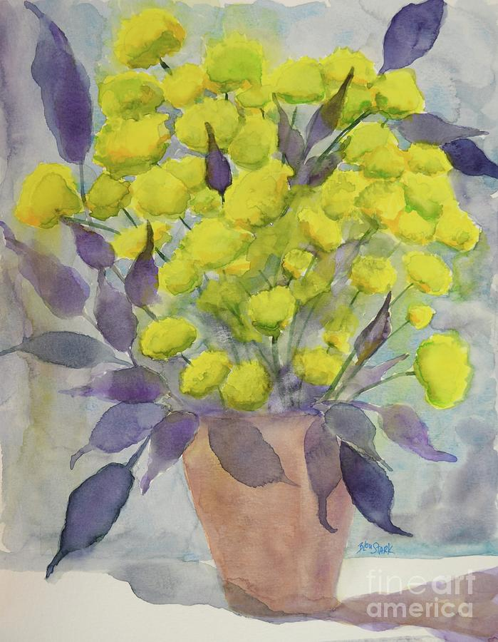 SOLD  Yellow Mums and Shadows  by Barrie Stark