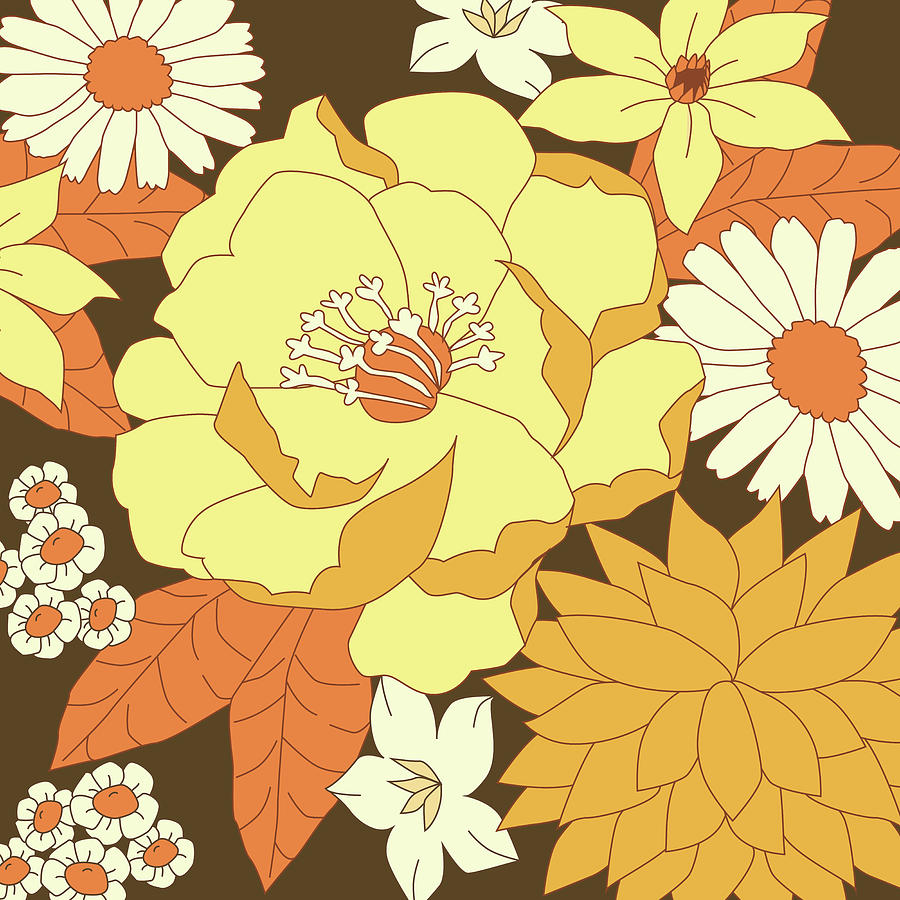 Yellow Orange And Brown Vintage Floral Pattern Digital Art By