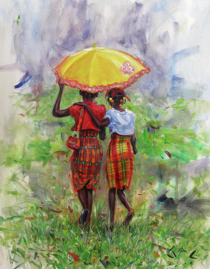 Children Painting - Yellow Parasol by Jonathan Guy-Gladding JAG