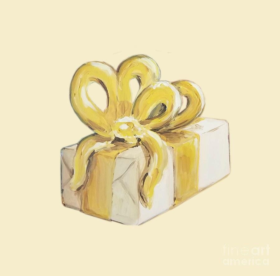 Present Painting - Yellow Present by Maria Langgle