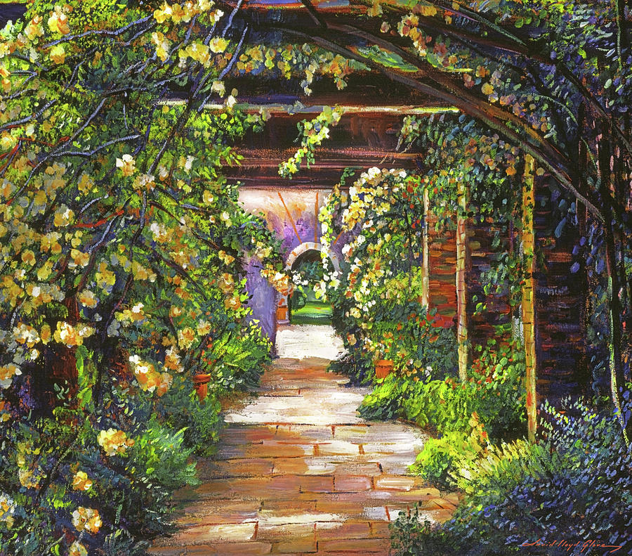 Yellow Rose Arbor Painting By David Lloyd Glover