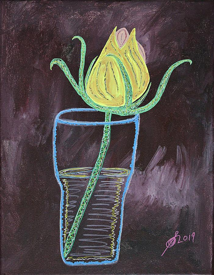 Yellow Rose original painting by Sol Luckman
