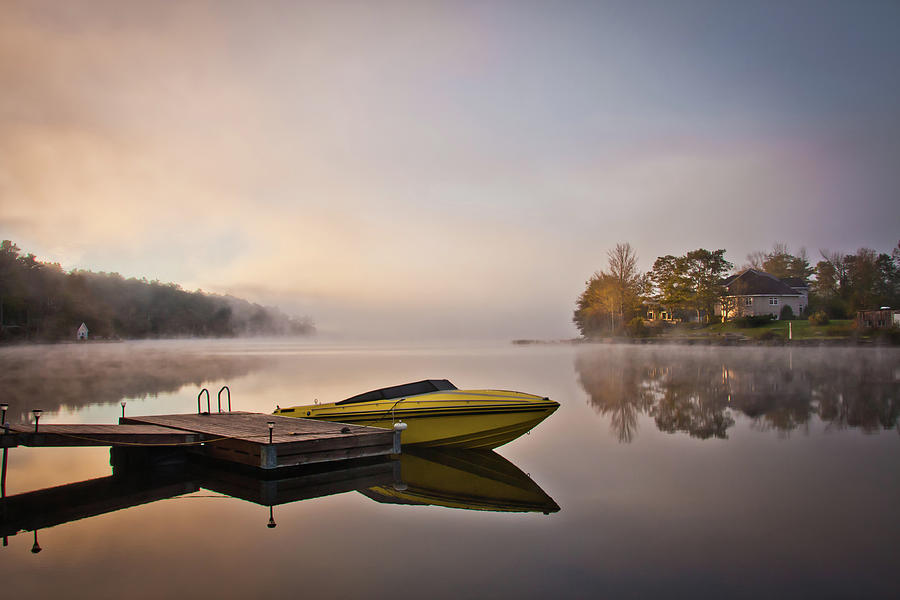 Yellow Speedboat Reflection At Lake Photograph by Nancy Rose