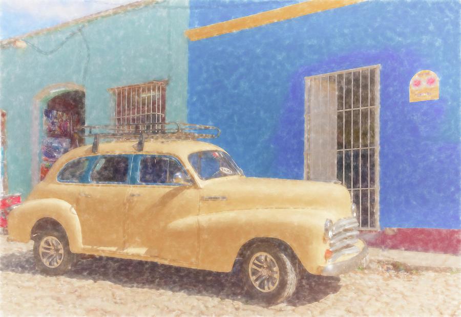 Yellow Taxi Trinidad Cuba II by Joan Carroll