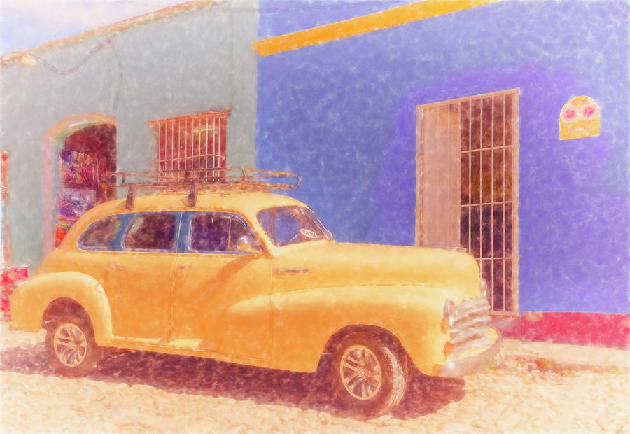 Yellow Taxi Trinidad Cuba by Joan Carroll