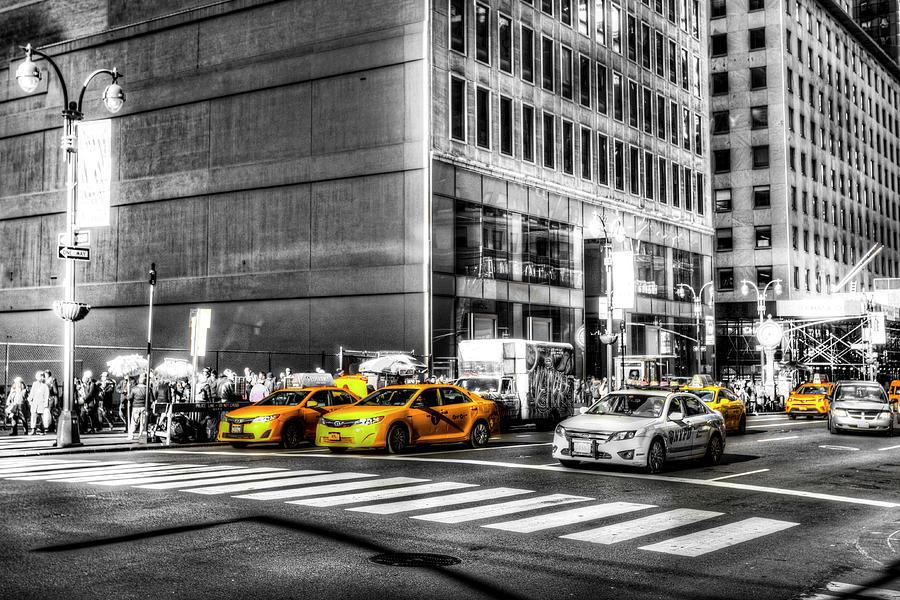 Yellow Taxis Monochrome World by David Pyatt