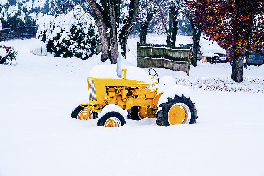 Tractor Photograph - Yellow Tractor In The Snow by Seth Solesbee