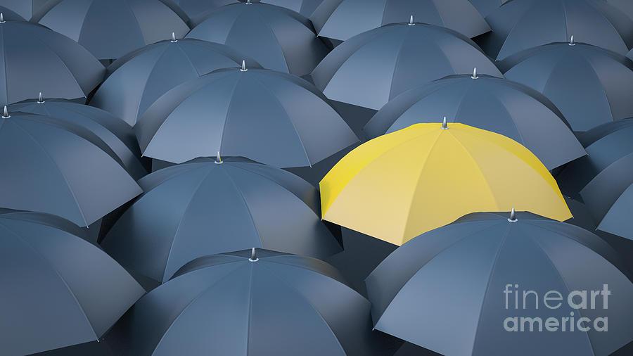 Yellow Umbrella In Between Many Black Digital Art by Westend61