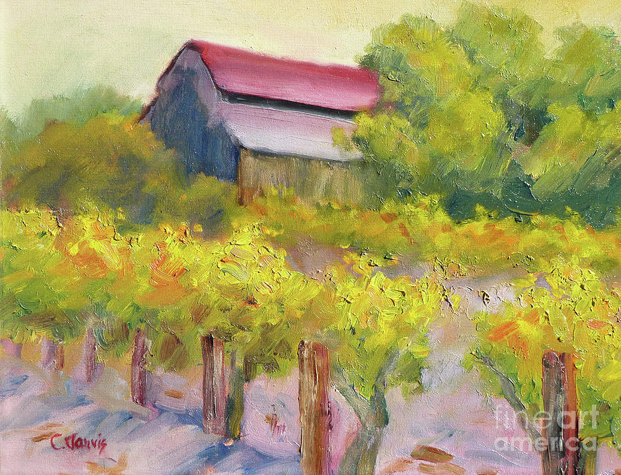 Yellow Vines with Barn by Carolyn Jarvis