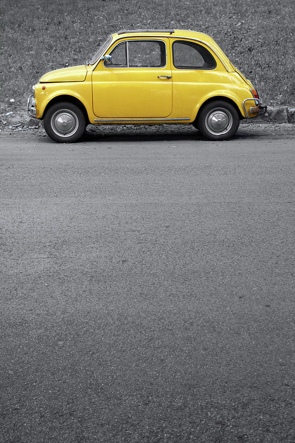 Yellow Vintage Car On Grey,rome Italy Photograph by Romaoslo