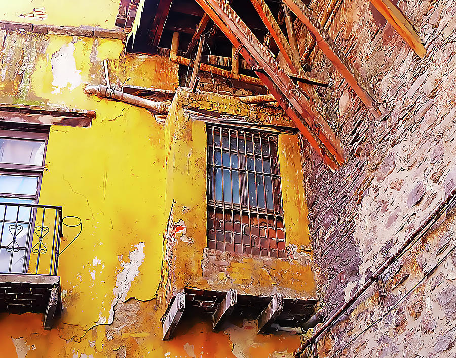 Yellow Wall with Barred Window by Douglas J Fisher