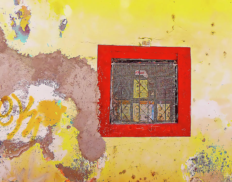 Yellow Wall with Red Window by Douglas J Fisher