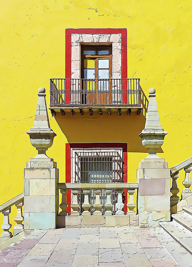 Yellow Wall with Windows and Stone Plinths by Douglas J Fisher