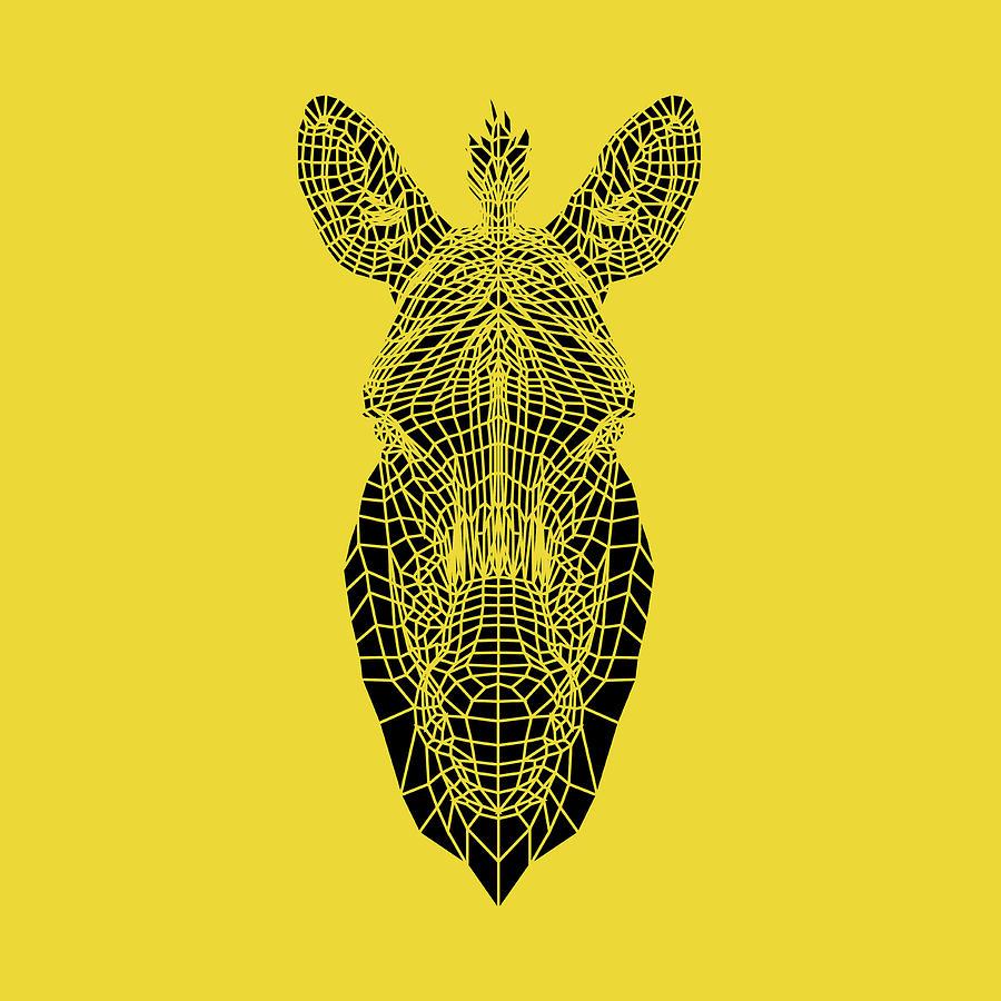 Zebra Digital Art - Yellow Zebra by Naxart Studio