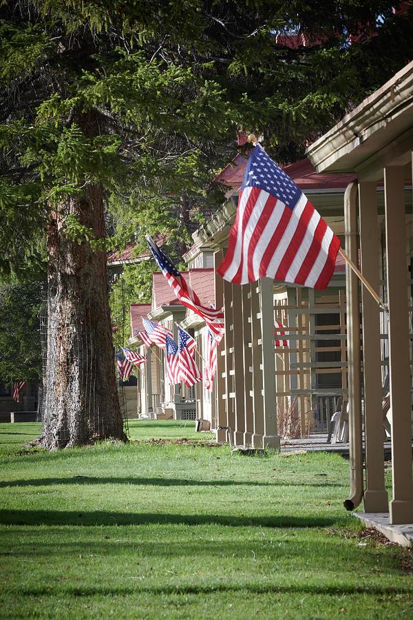 American Flag Photograph - Yellowstone Flags by Paul Freidlund