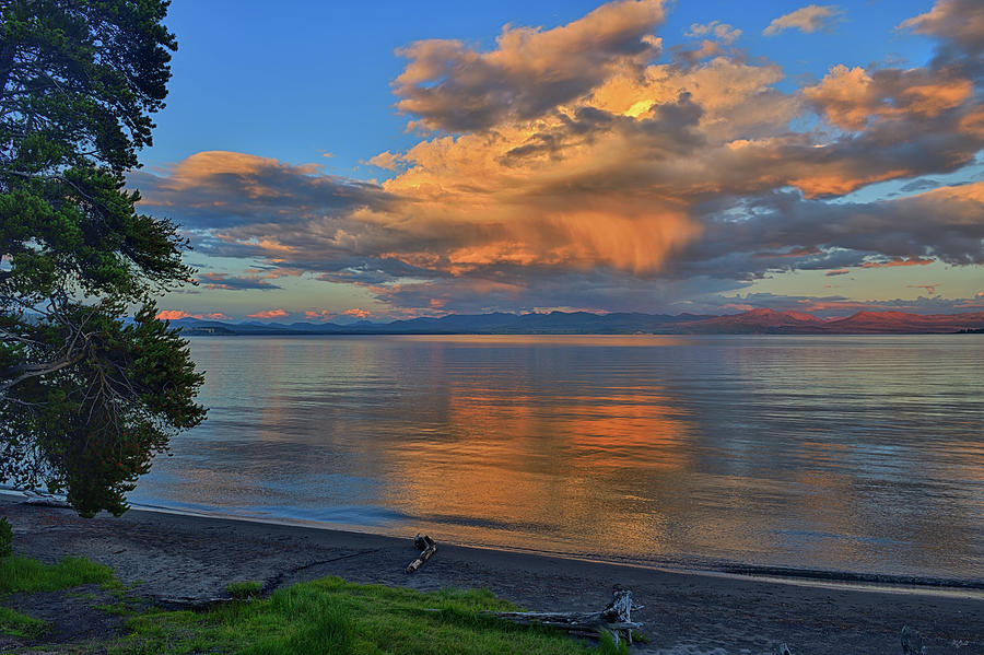 Yellowstone Lake Sunset by Greg Norrell
