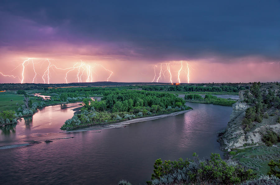 Yellowstone River Lightning by Leland D Howard
