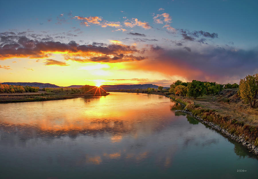 Nature Photograph - Yellowstone River Sunset by Leland D Howard