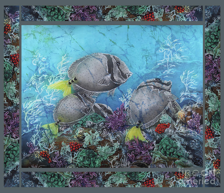Fish Painting - Yellowtail Surgeonfish Bordered by Sue Duda