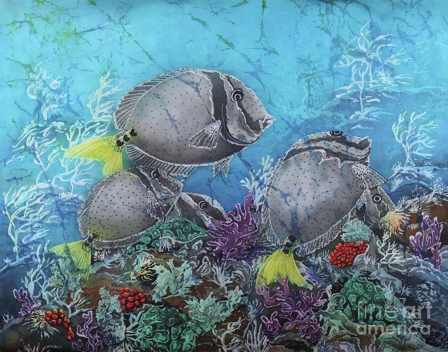 Fish Painting - Yellowtail Surgeonfish by Sue Duda