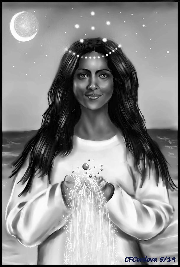 Yemaya in  black white by Carmen Cordova