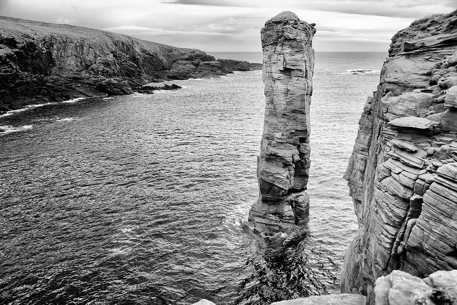Scotland Orkney coastal cliffs black and white landscape photography print wall art