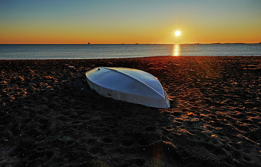 Yirrell Beach Sunrise Wintrhop MA Boat by Toby McGuire