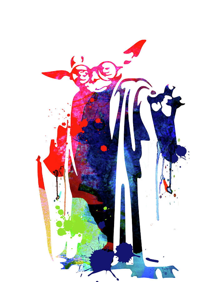 Yoda Mixed Media - Yoda Wearing Classes Watercolor by Naxart Studio