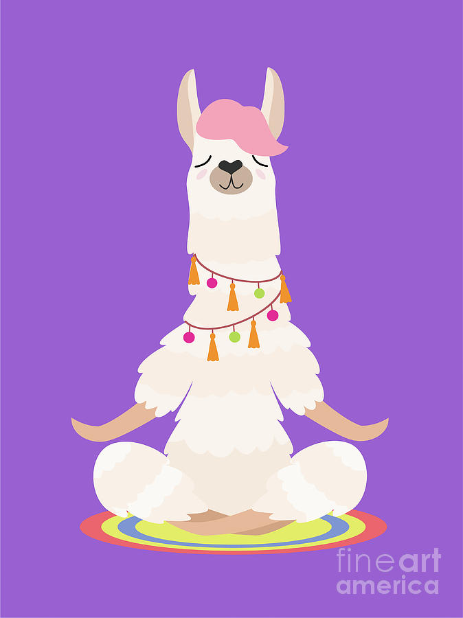 Yoga Llama Meditates Isolated On Purple Digital Art by Taisiia Iaremchuk