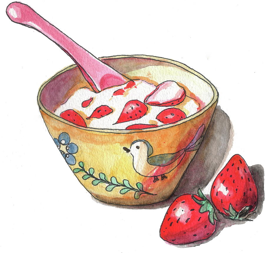 Yogurt With Strawberries Photograph by Kana hata