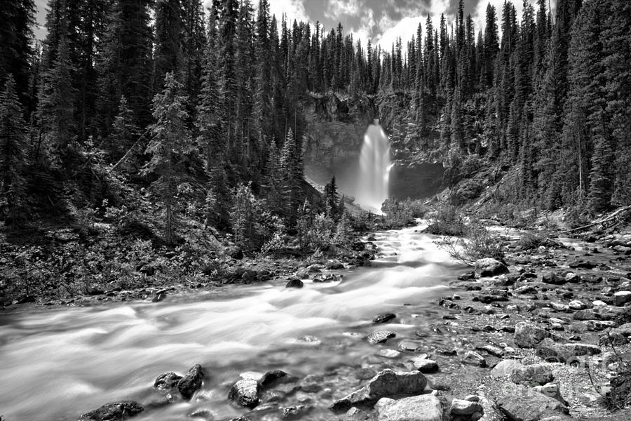 Yoho Laughing Falls Canyon Black And White by Adam Jewell