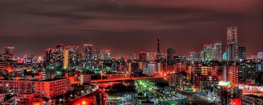 Yokohama Night In Hdr Photograph by Copyright Artem Vorobiev