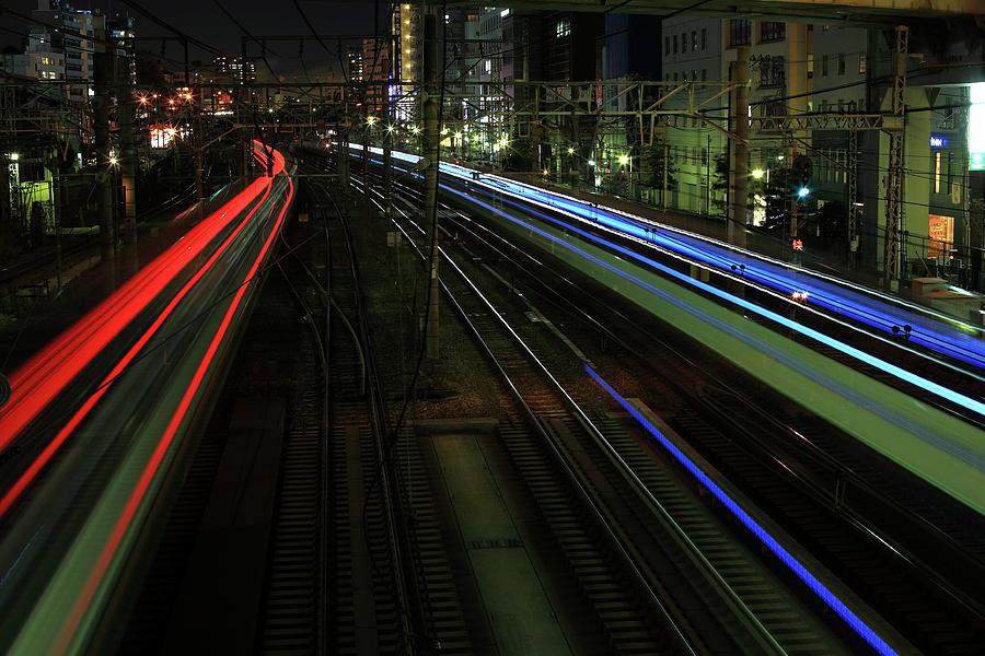 Yokohama Station Light Trail Photograph by Hideki Tengeiji