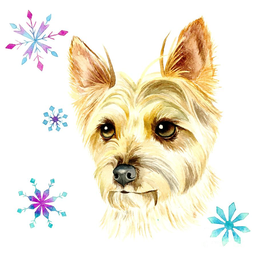 Yorkie Dog And Snowflakes Painting by NamiBear