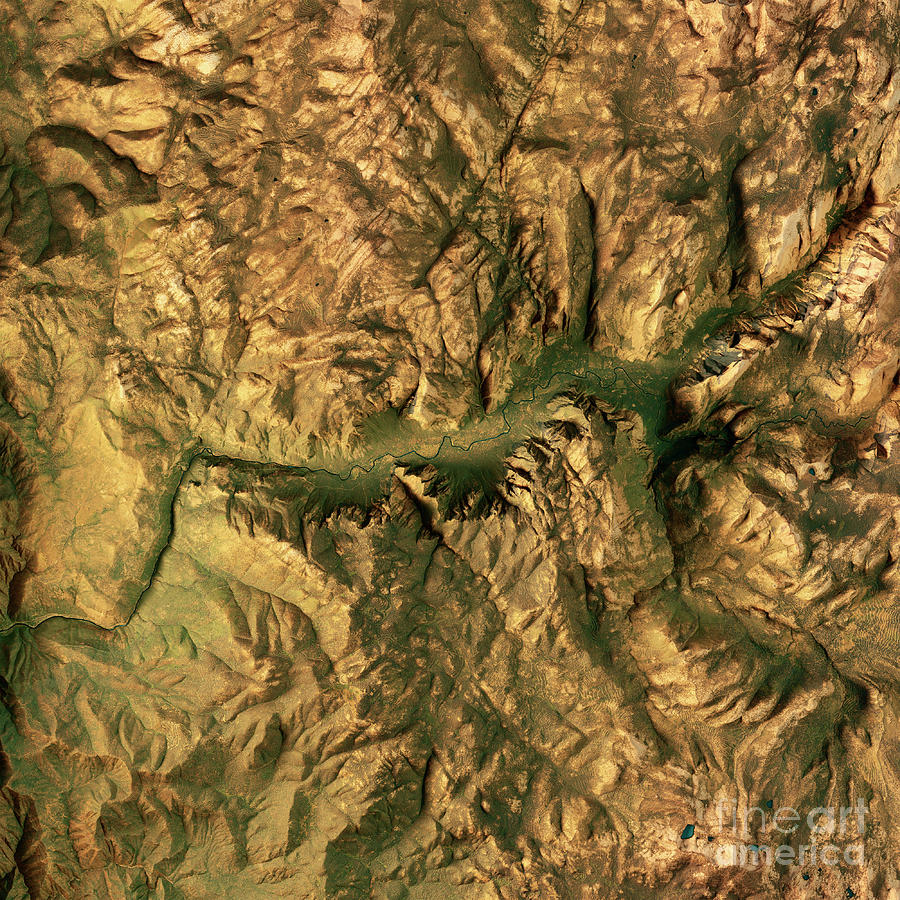 Yosemite Valley 3d Render Topographic Map Color Digital Art By