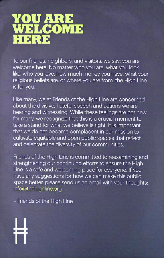 You Are Welcome Here - The High Line Photograph