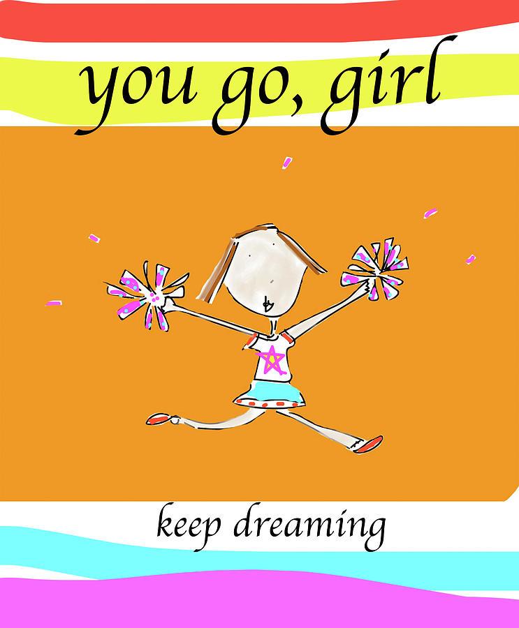 Colorblock Digital Art - You Go, Girl by Ashley Rice