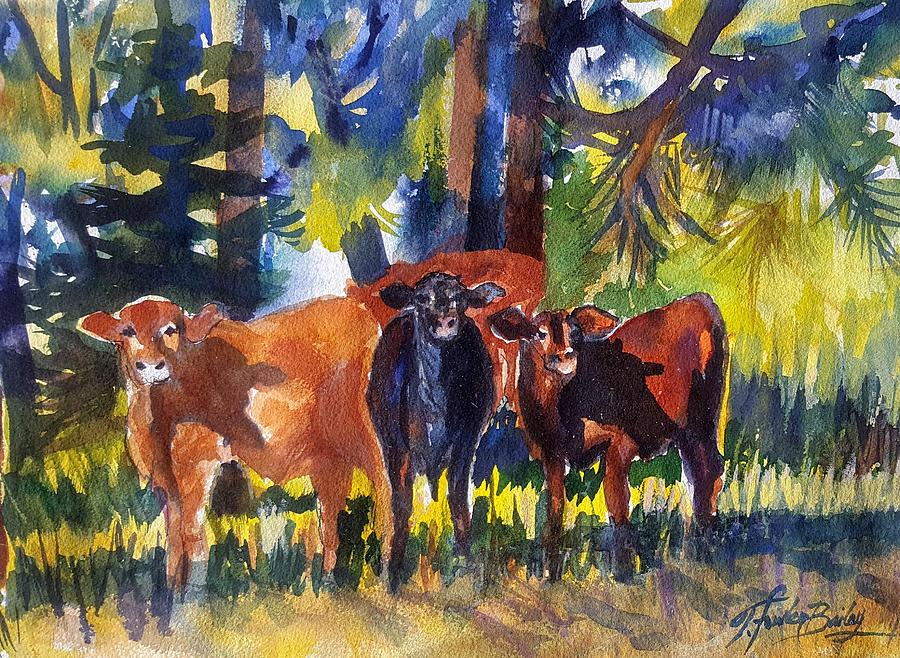 Cows Painting - You Looking At Us by Therese Fowler-Bailey