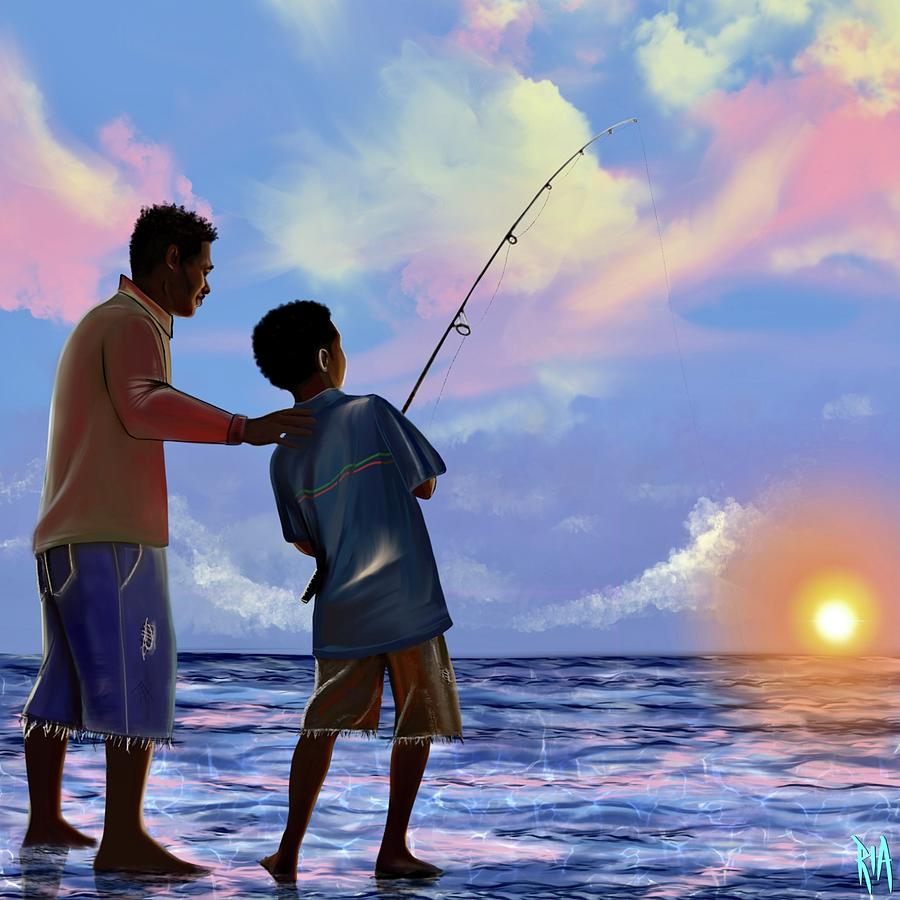Fishing Digital Art - You Make Him Proud by Artist RiA