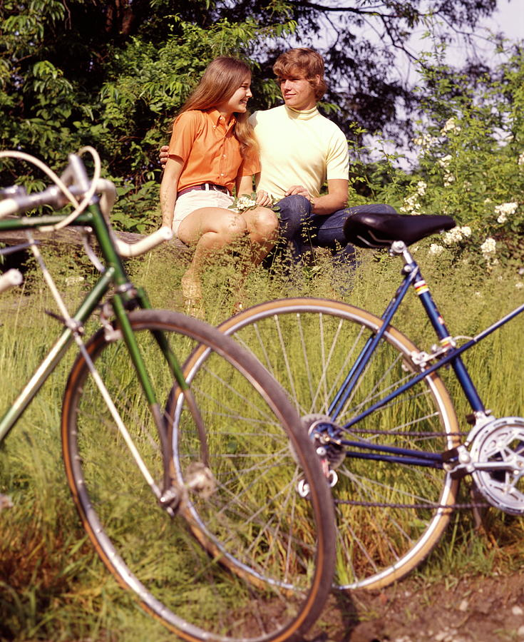 Young Adults Teenagers Field Date Bikes Photograph by H. Armstrong Roberts