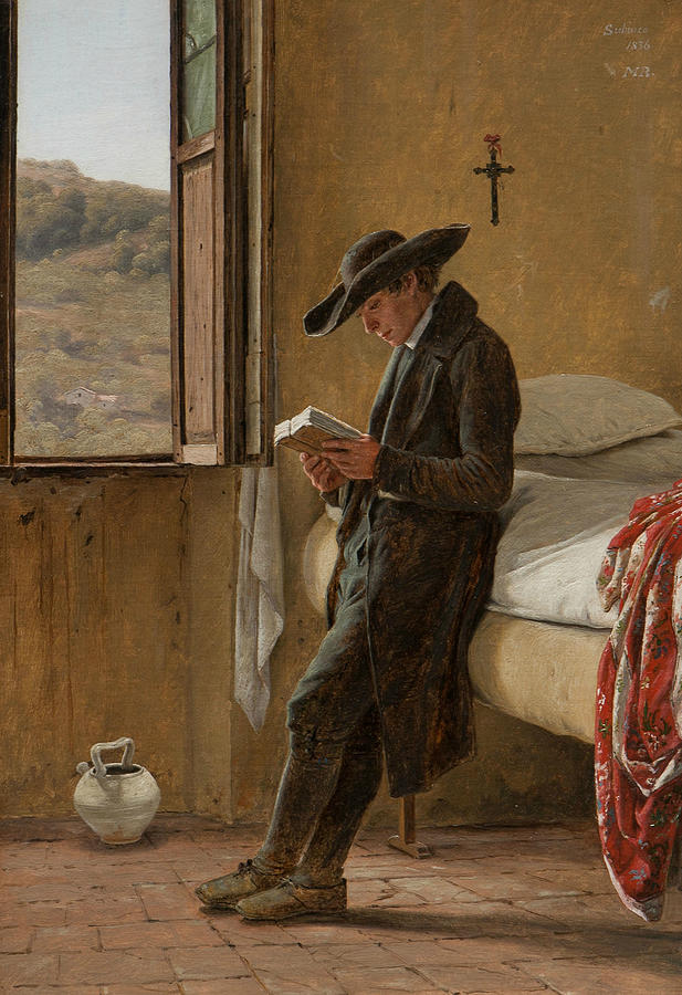 Young Clergyman Reading by Martinus Rorbye