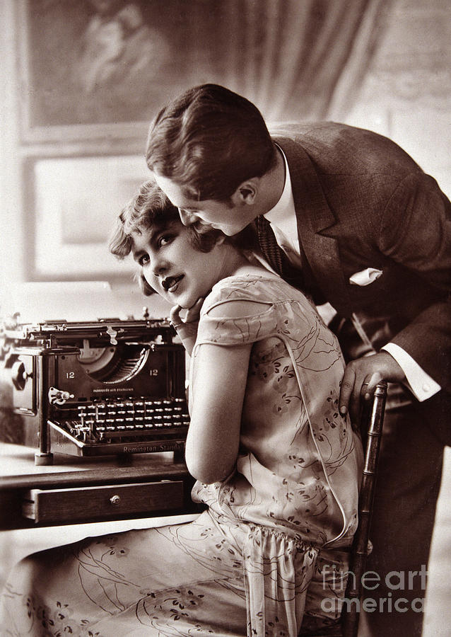 Young couple and typewriter by European School