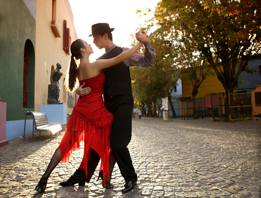 Young Couple Dancing Tango In Street Photograph by Buena Vista Images
