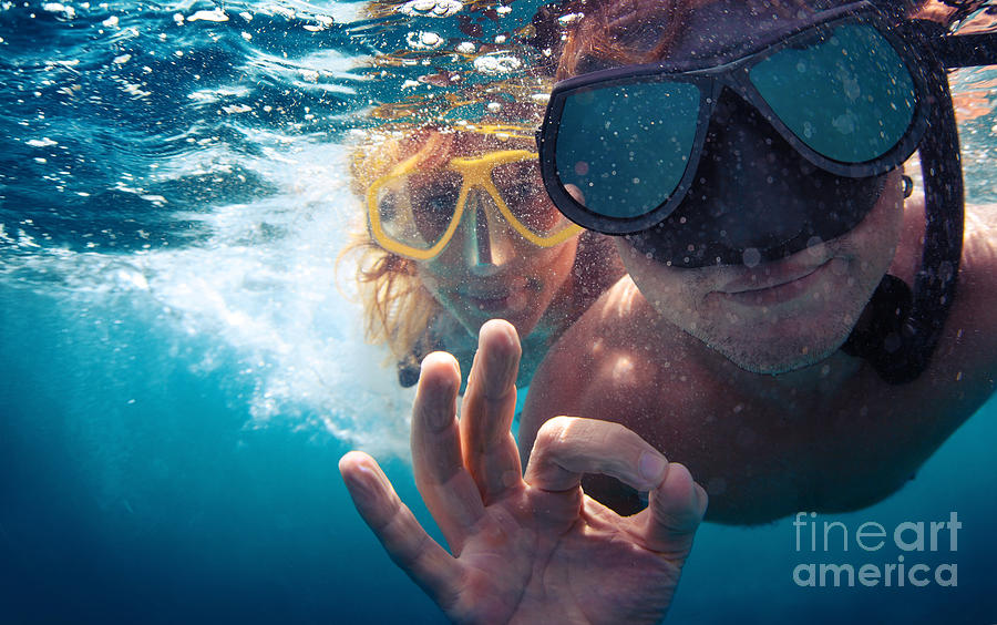Couple Photograph - Young Couple Having Fun Underwater by Dudarev Mikhail