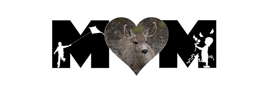 Young Doe in Heart with Little Girl and Boy MOM Big Letter by Colleen Cornelius