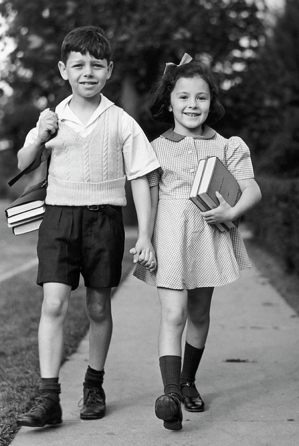Young Girl & Boy Walking To School W Photograph by George Marks